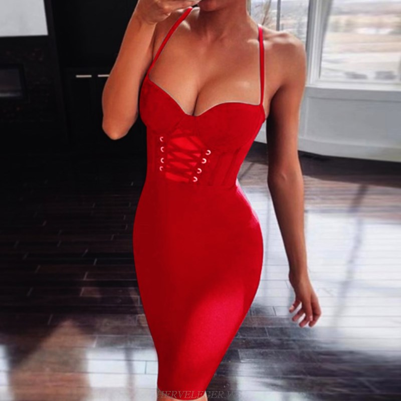 Herve Leger Red Lace Up Bustier Dress