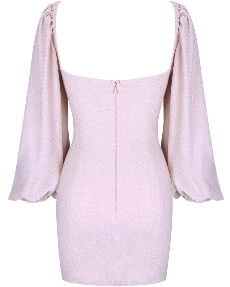 Herve Leger Nude Pink Long Puff Sleeve Dress
