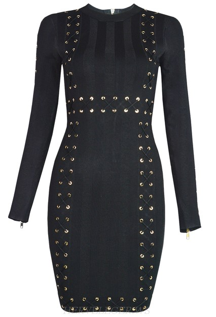 Herve Leger Black Long Sleeve Lace Up Detail Dress
