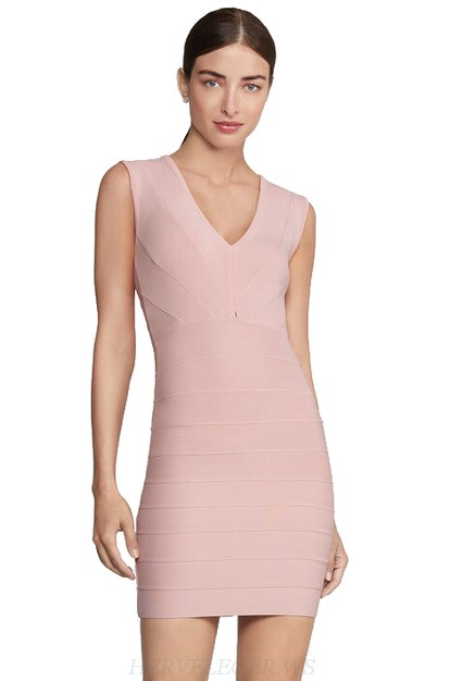 Herve Leger Nude Pink V Neck Mini Bandage Dress