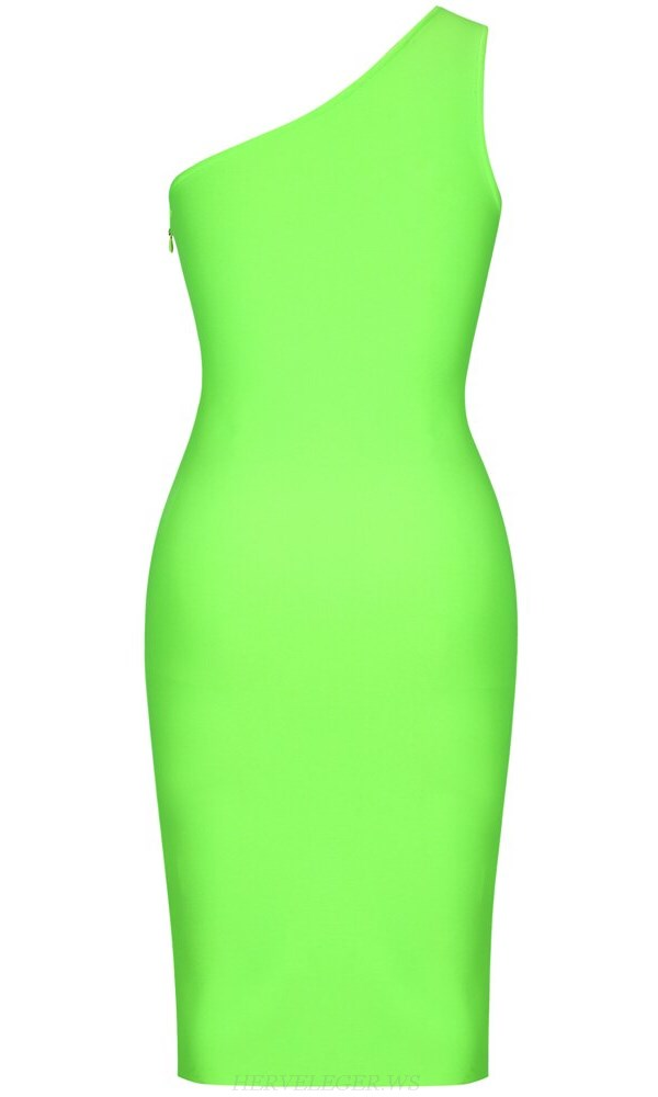 Herve Leger Neon One Shoulder Midi Bandage Dress