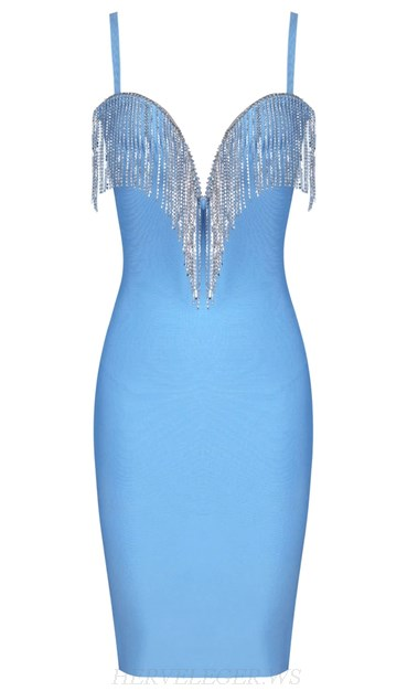 Herve Leger Light V Neck Blue Rhinestone Tassel Bandage Dress