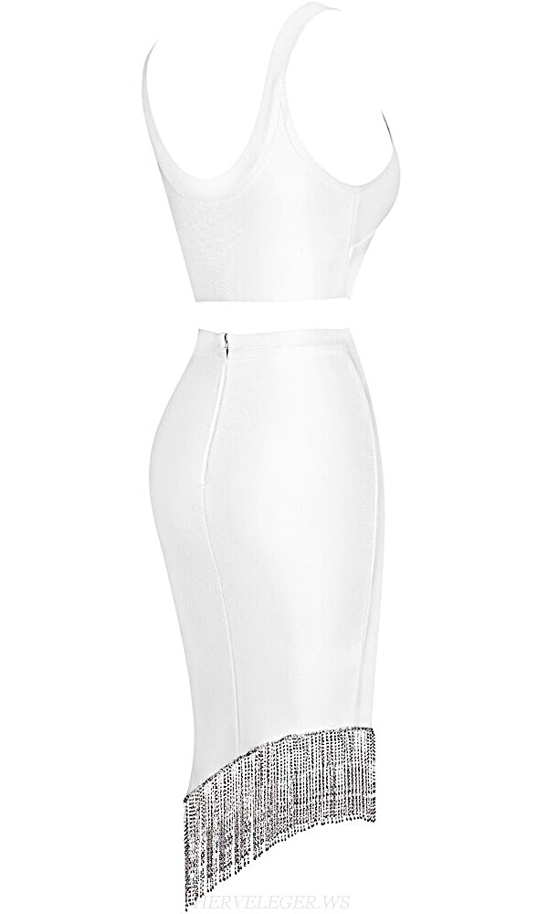 Herve Leger White Rhinestone Tassel Two Piece Dress