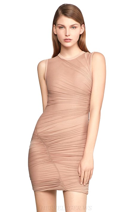 Herve Leger Nude Ruched Stars Dress