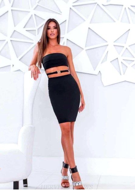 Herve Leger Black Strapless Cut Out Dress