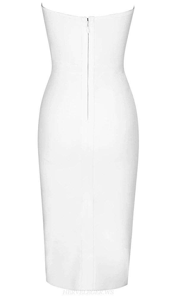 Herve Leger White And Black V Neck Strapless Stars Dress
