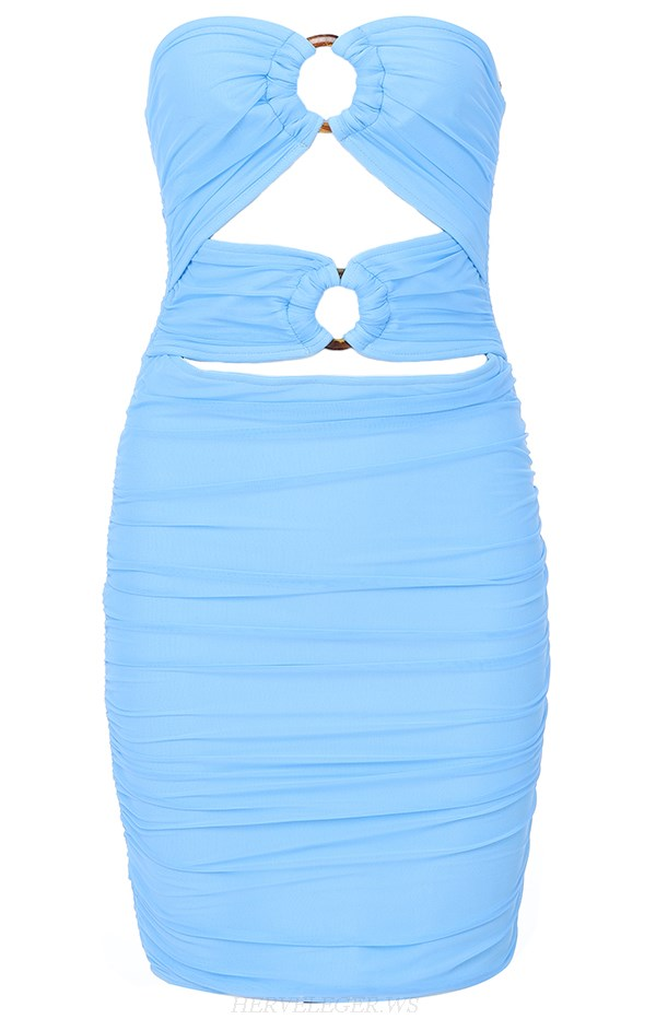Herve Leger Blue Strapless Ruched Bandage Dress
