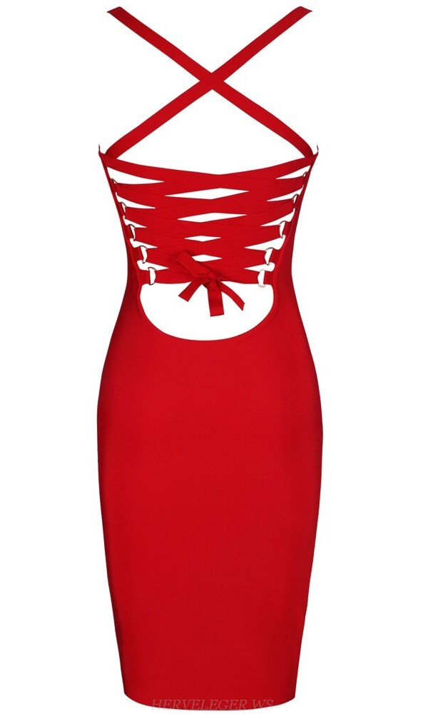Herve Leger Red Strappy Back Dress