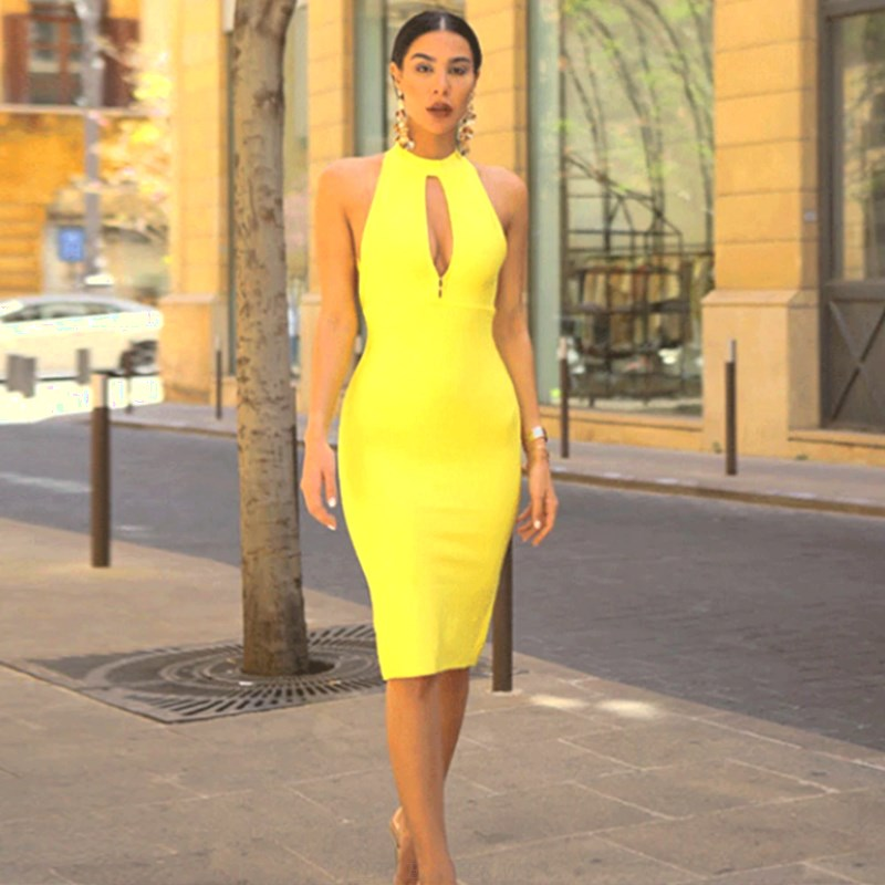 Herve Leger Yellow Strappy Midi Dress