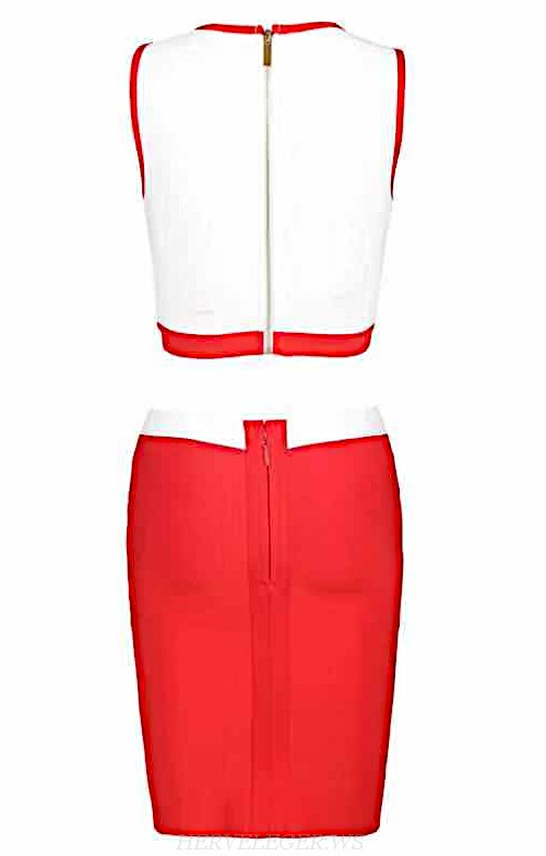 Herve Leger Red White Two Piece Dress