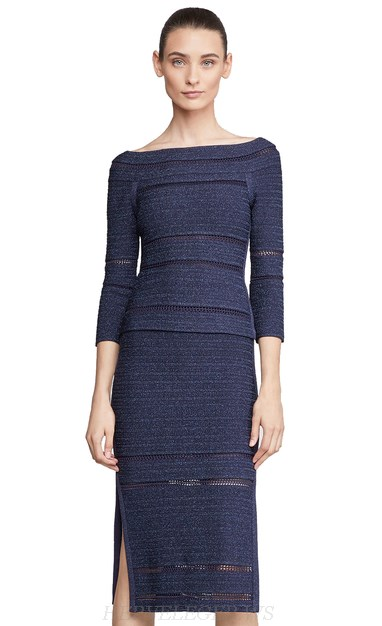 Herve Leger Blue Two Piece Midi Runway Bandage Dress