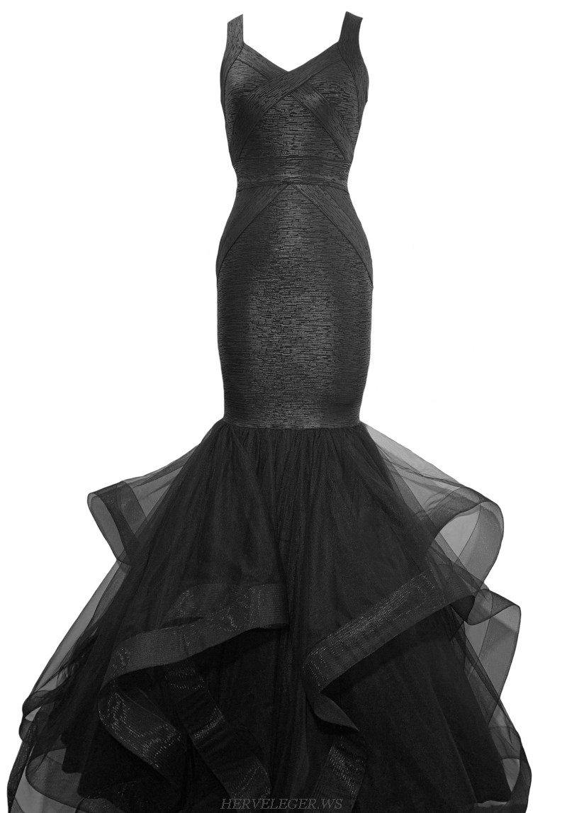 Herve Leger Black Woodgrain Foil Print Mermaid Formal Dress