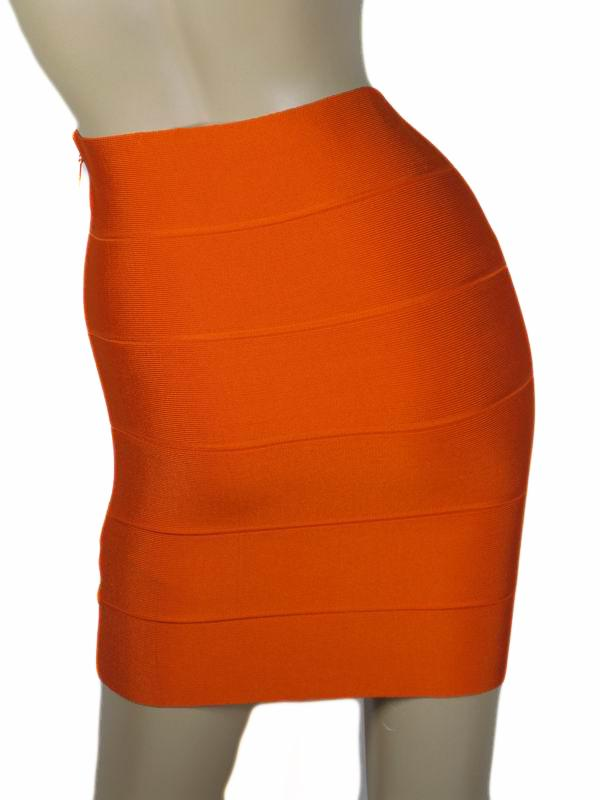 Herve Leger Mini Skirt Orange