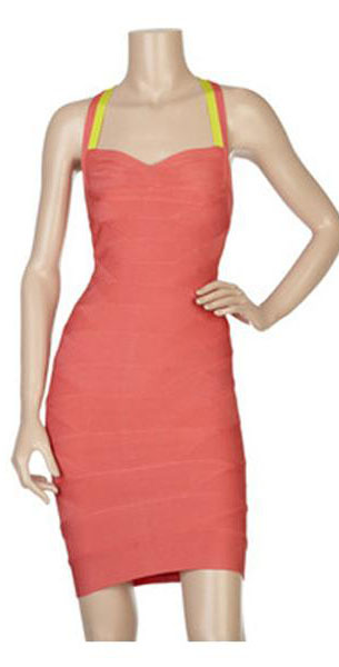 Herve Leger Bqueen Two Tone Bandage Dress