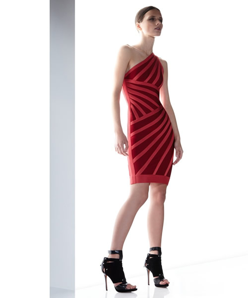 HERVE LEGER 2012 NEW CARMELA ONE SHOULDER DRESS