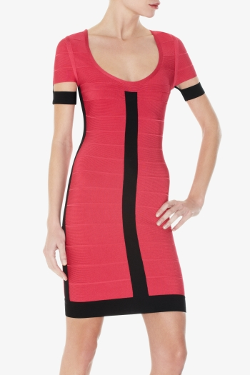 HERVE LEGER BLACK AND RED COLOR BLOCKED DRESS