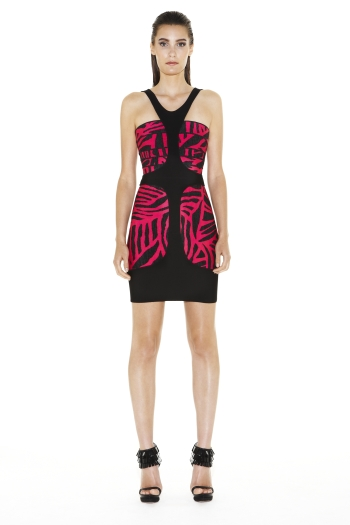 HERVE LEGER STRAPLESS JACQUARD PRINT DRESS