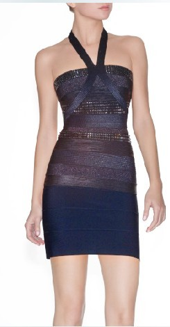 Herve Leger Criss Cross Sequined Bandage Dress