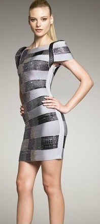 Herve Leger Metallic Puff Sleeve Bandage Dress