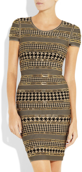 Herve Leger Embellished Houndstooth Bandage Dress