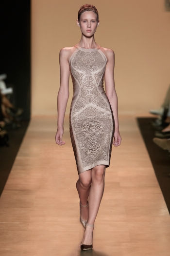 Herve Leger High Neck Bandage Dress Nude