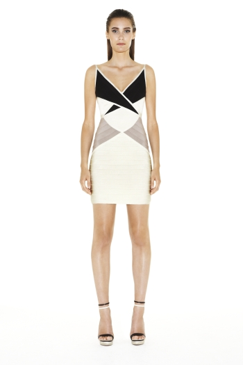 Herve Leger Ines Colorblocked Dress Gravel Combo