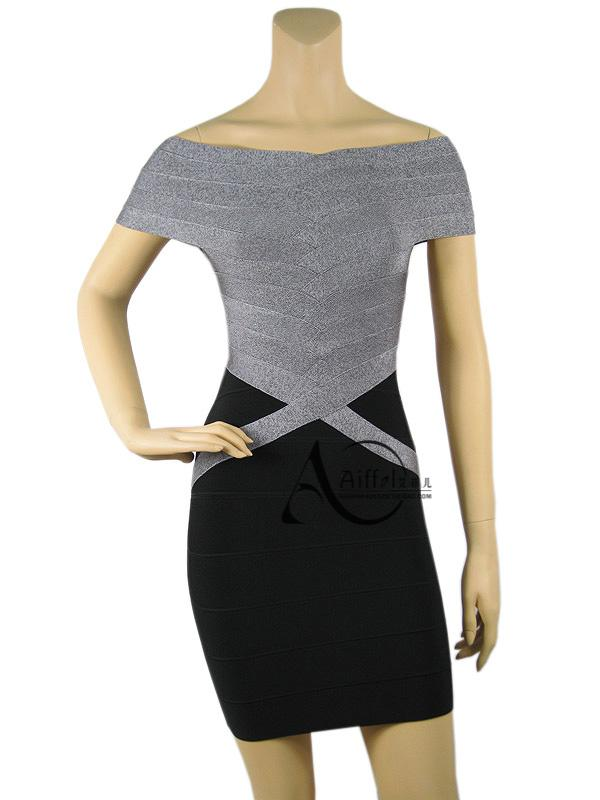 Herve Leger Off The Shoulder Bandage Dress Grey Black