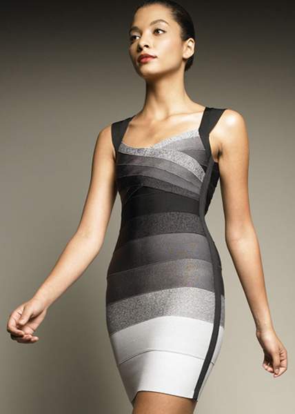 Herve Leger Ombre Open Back Bandage Dress