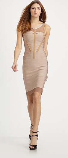 Herve Leger Banded Mesh Trim Dress