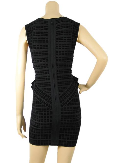 Herve Leger Flocking Bandage Dress Black
