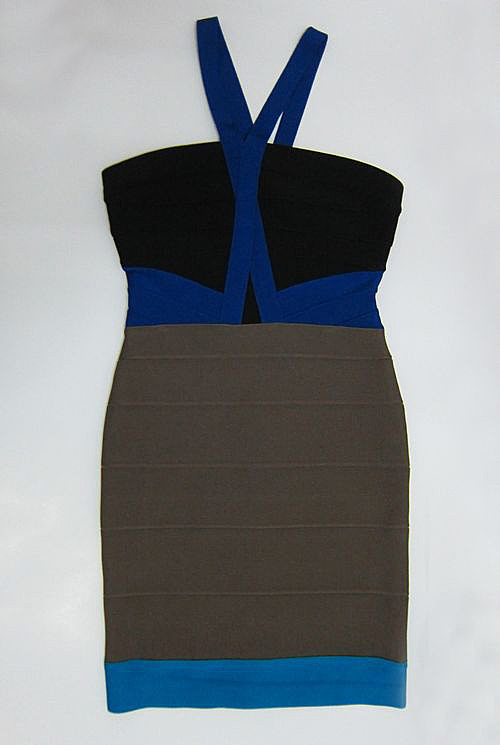 Herve Leger Gabrielle Colorblocked Dress