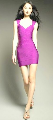 Herve Leger Novelty Essential Bandage Dress Purple