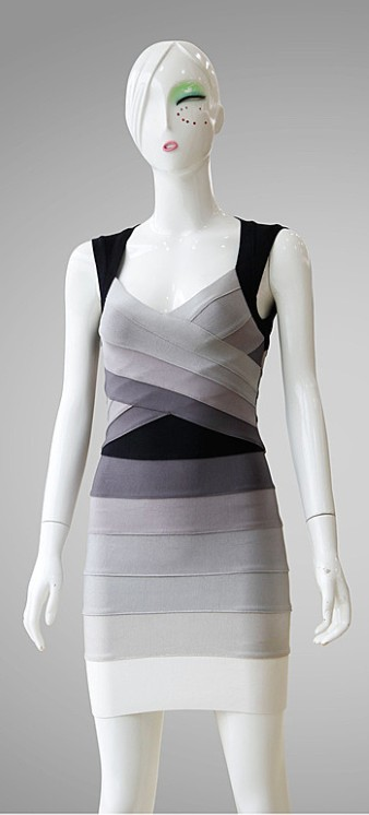 Herve Leger Ombre Open Back Dress