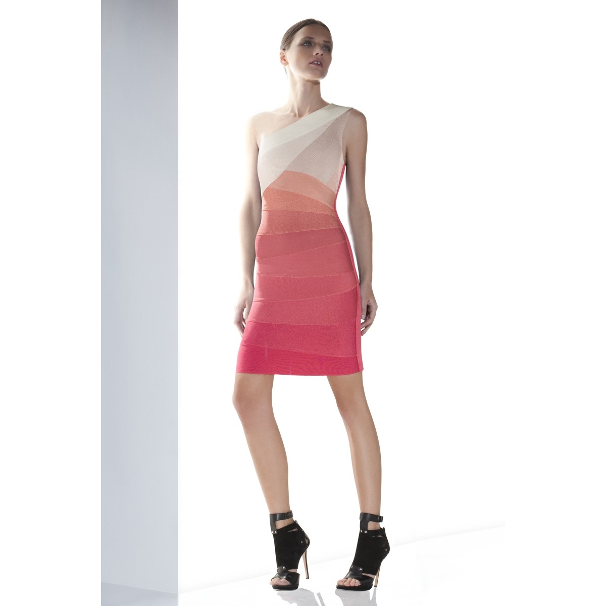 Herve Leger Alexis One-Shoulder Ombre Bandage Dress