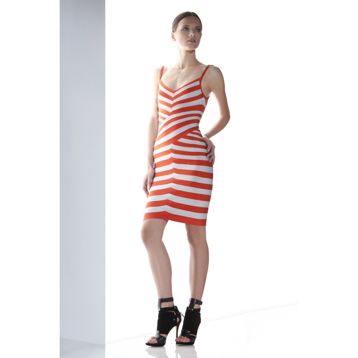 Herve Leger Andreea Striped Bandage Dress