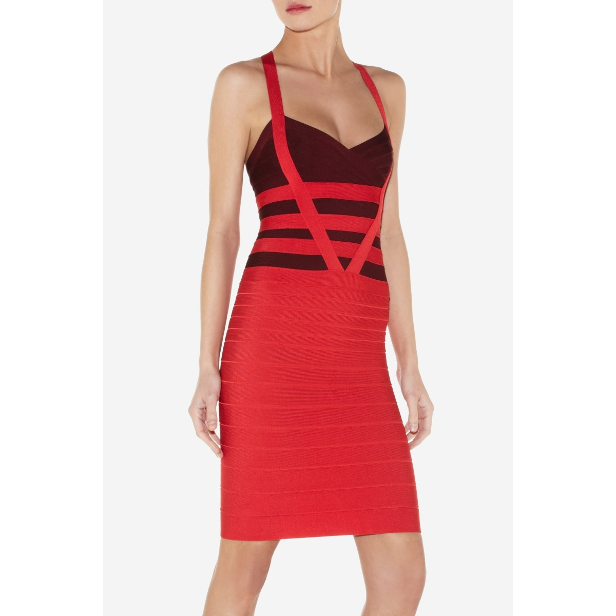 Herve Leger Balinda Colorblocked Dress