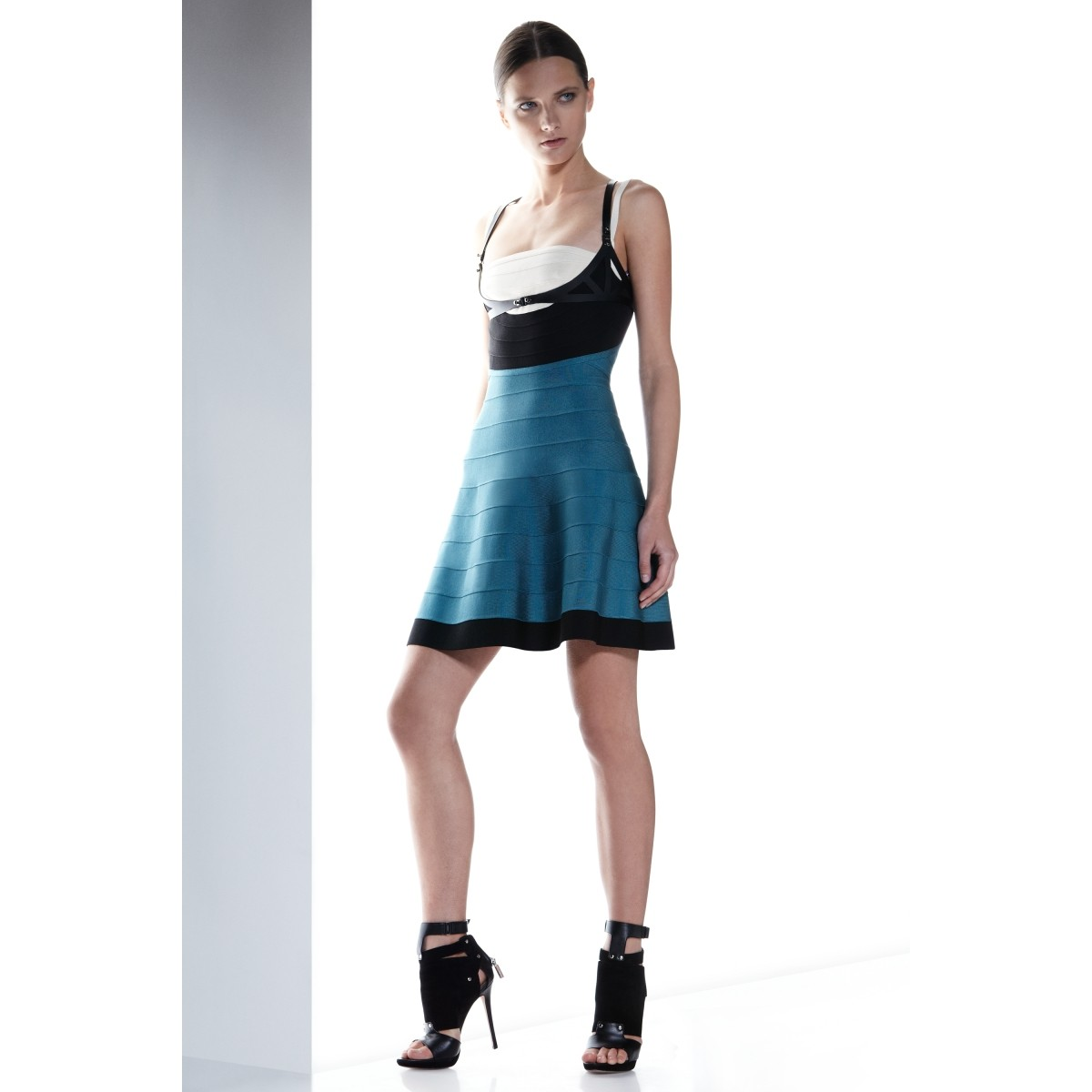 Herve Leger Britt Blue Colorblocked Dress
