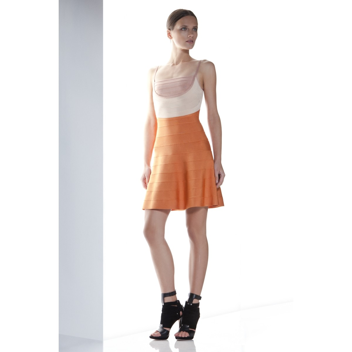 Herve Leger Britt Orange Colorblocked Dress
