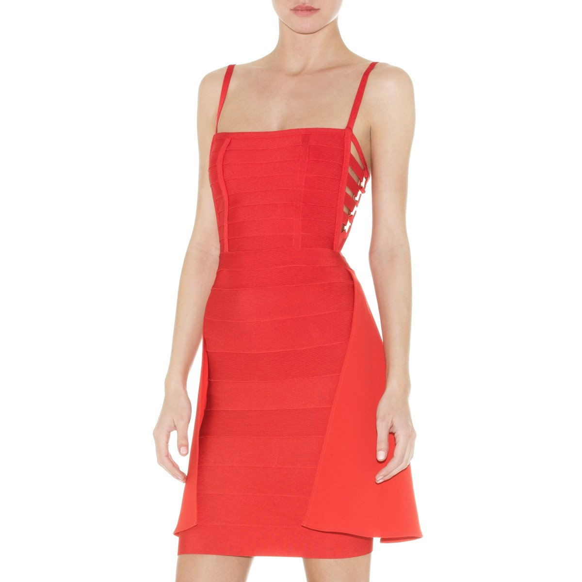 Herve Leger Clio Bandage Dress With Draped Detail