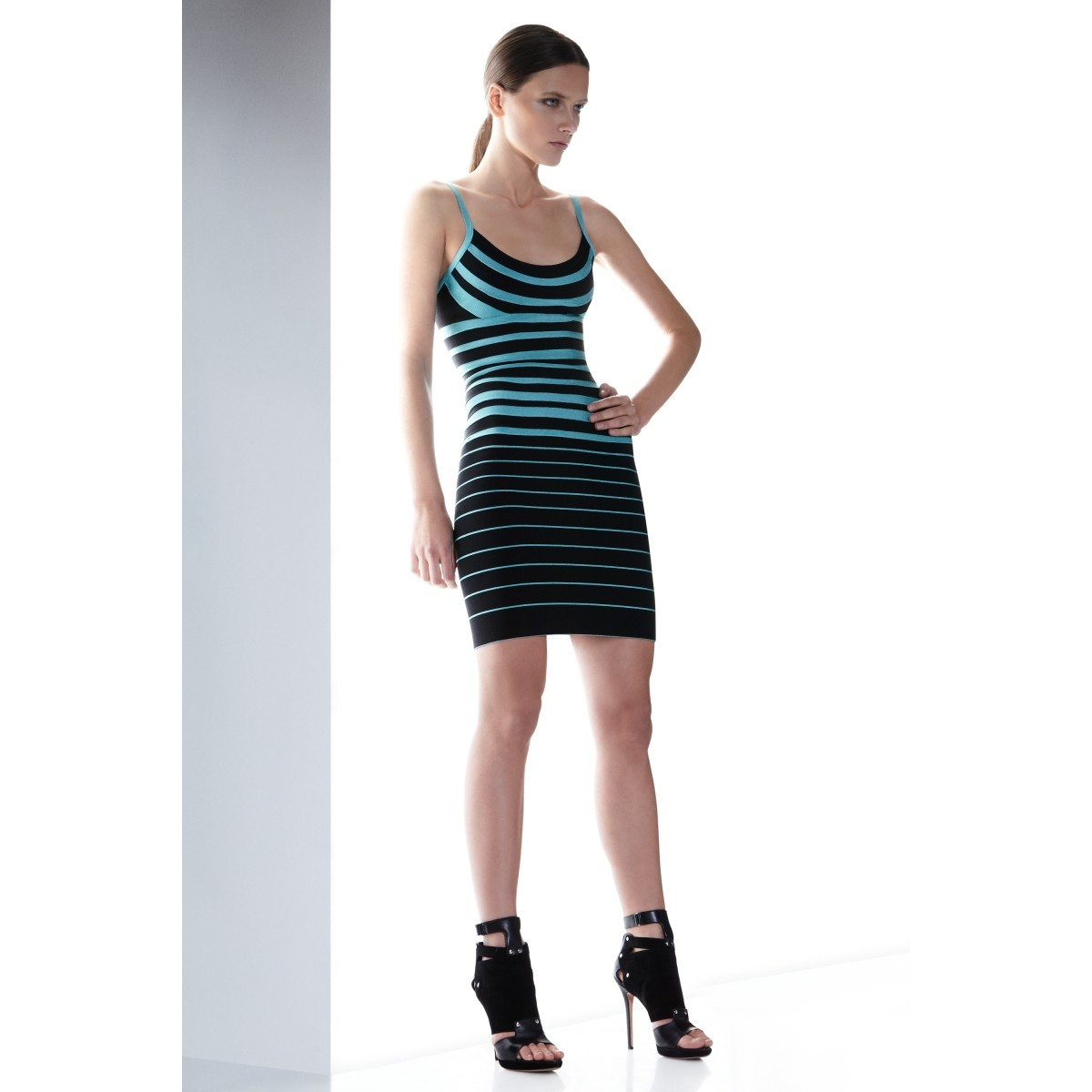 Herve Leger Drielle Striped Bandage Dress
