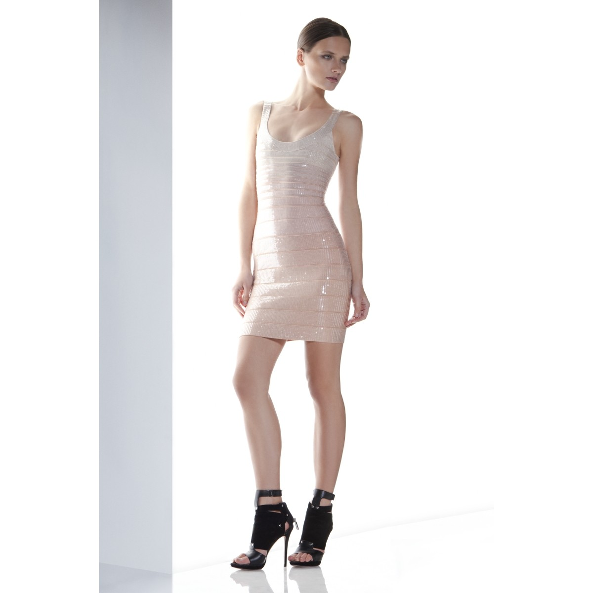 Herve Leger Ebba Sequined Ombre Bandage Dress