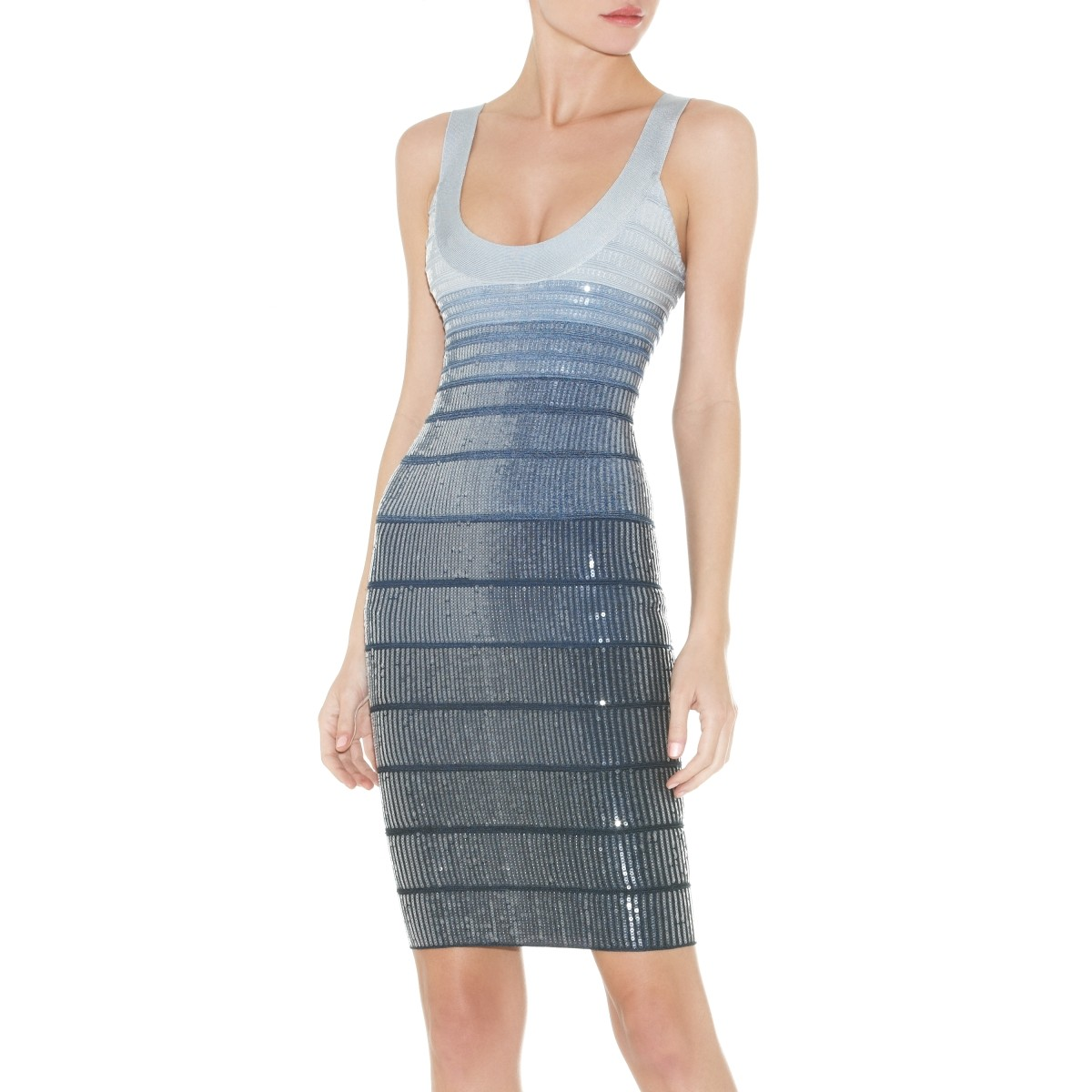 Herve Leger Ebba Sequined Ombre Dress