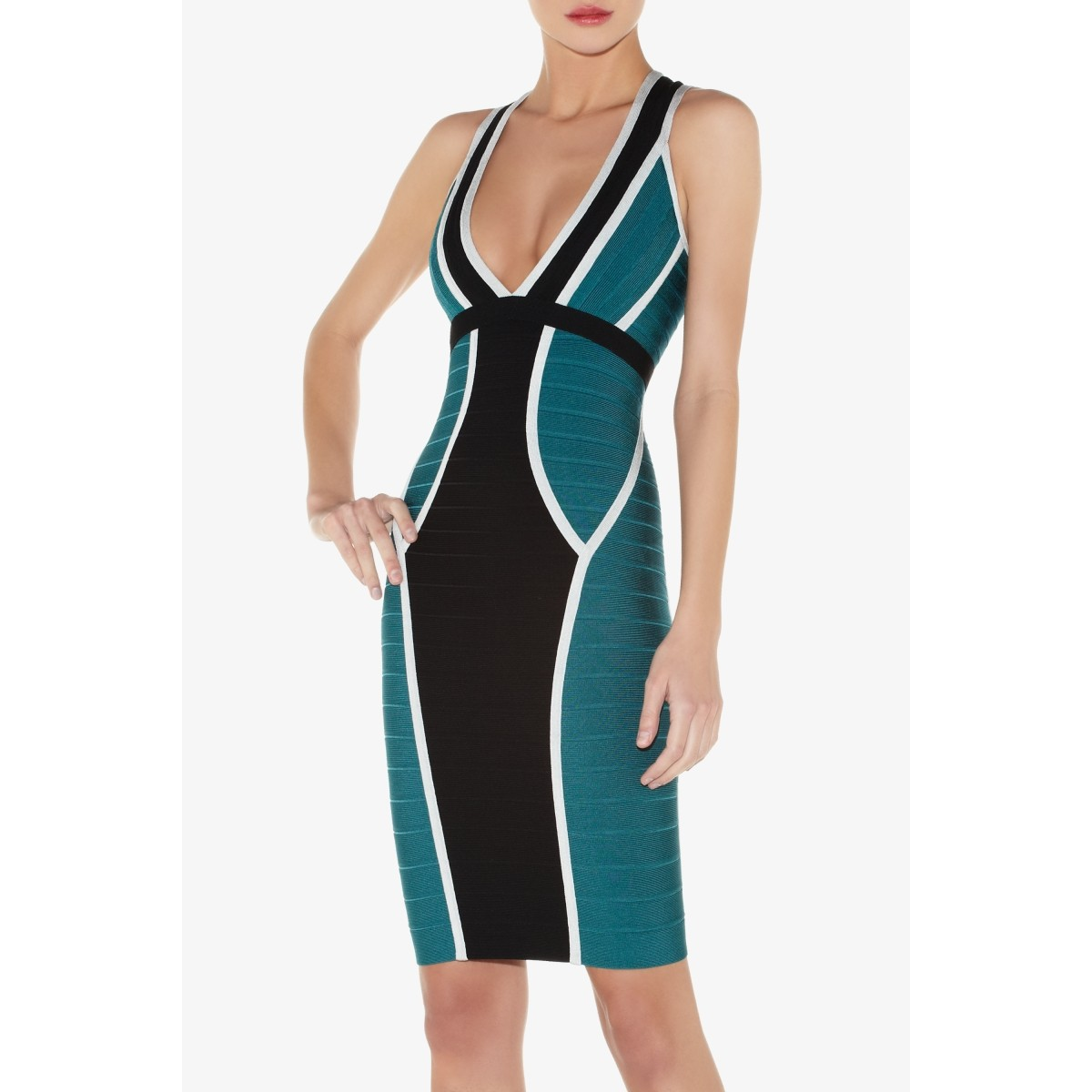 Herve Leger Eyvette Colorblocked Bandage Dress