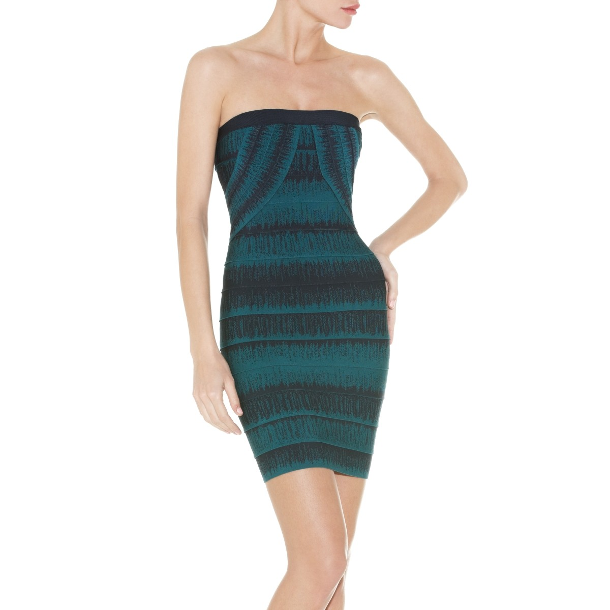 Herve Leger Lesley Faded-Stitch Strapless Bandage Dress
