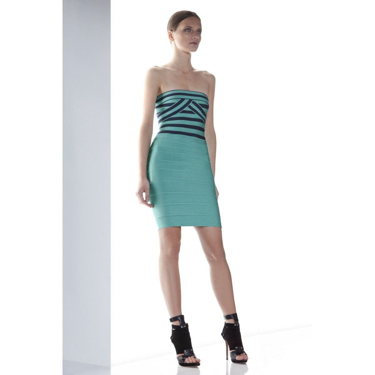 Herve Leger Olimpia Jacquard Stripe Dress