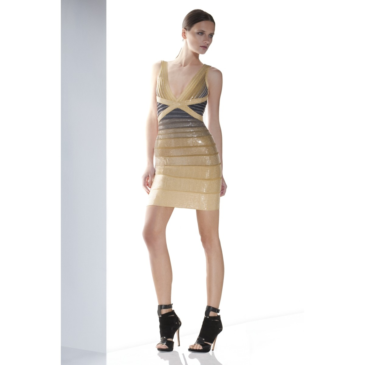 Herve Leger Pilar Sequined Ombre Dress