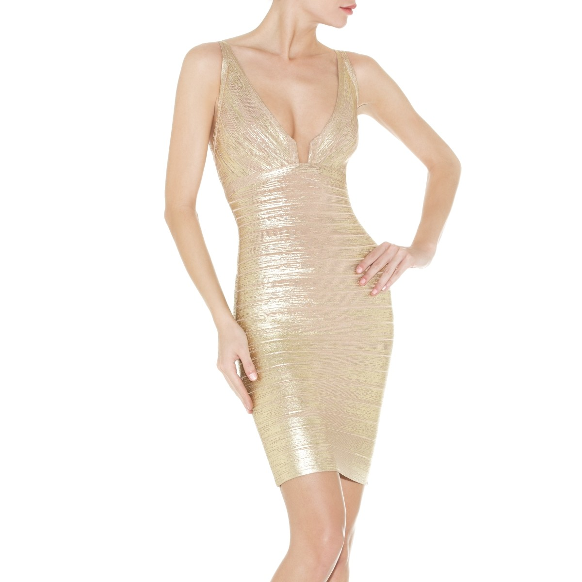 Herve Leger Sinclair Wood-Grain Foil-Print Dress