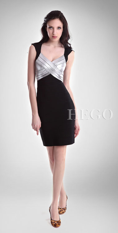 Herve Leger Silver Halter Dress Black