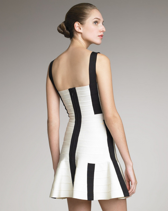 Herve Leger 2012 Flare Contrast Bandage Dress