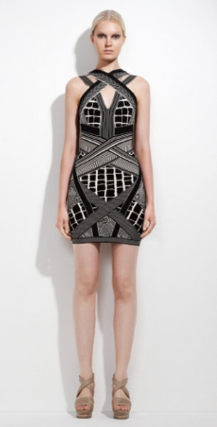 Herve Leger Adele Geometric Jacquard Dress